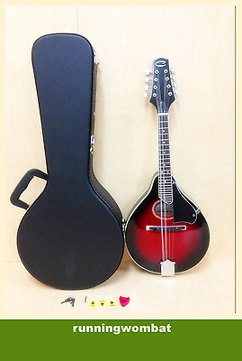 Caraya MA-002 A-style Black Cherry Sunburst Mandolin, w/Deluxe Hard Case, Picks