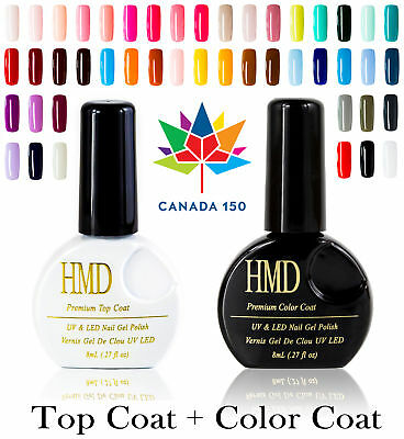 Value Pack HMD Soak Off  UV LED high shine Gel Nail Polish with no wipe Top coat