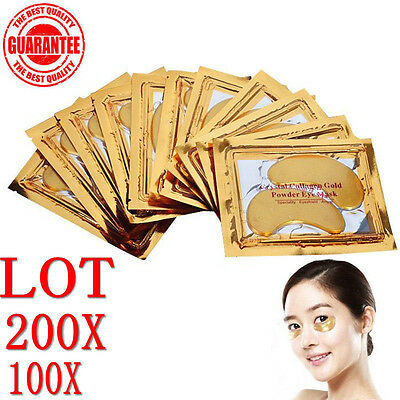 200 Pairs 24k Gold Eye Collagen Aging Wrinkle Under Crystal Gel Patch Anti Mask