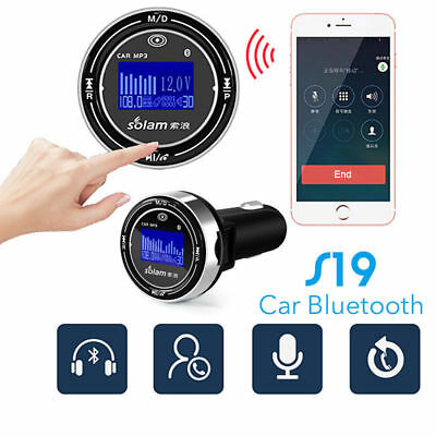 S19 Bluetooth Wireless Car MP3 Player FM Transmitter OLED Dual USB Car Charger