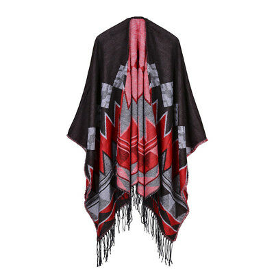 Winter Loose Blanket Retro Fashion Shawl Soft Thick Scarf For Women Red Coffe