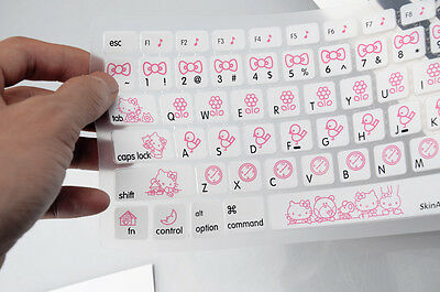 "hello kitty Silicone Soft Keyboard Cover Skin Sticker 13"" 15"" Apple Macbook Air"