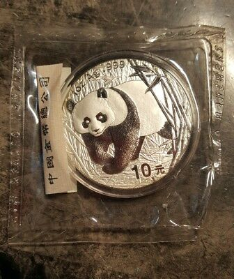 2002 Chinese silver panda coin sealed in mint plastic, Guobao mint 1oz. 999Ag