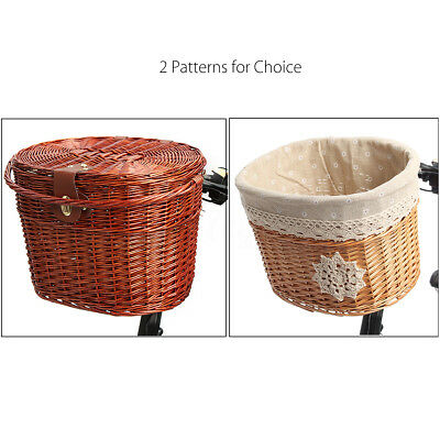 Willow Wicker Bicycle Bike Front Basket Holder For Pet Fruit Shopping Camping