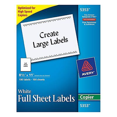 "Avery Full-Sheet Labels for Copiers, 8-1/2"" x 11"", Box of 100 5353"