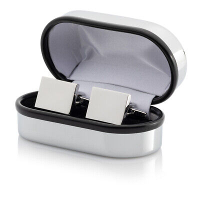 Personalised Silver or Gold Rectangular Cufflinks In Chrome Case ENGRAVED