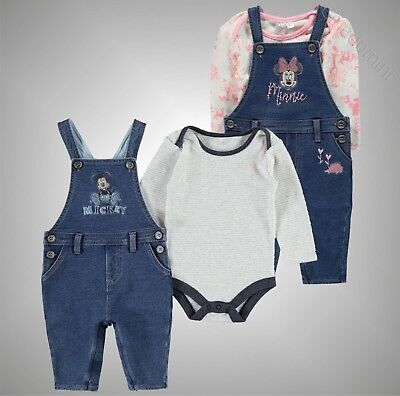 Babies Boys Girls Branded Disney Print Dungaree Two Piece Set Size 0-24 Mnth