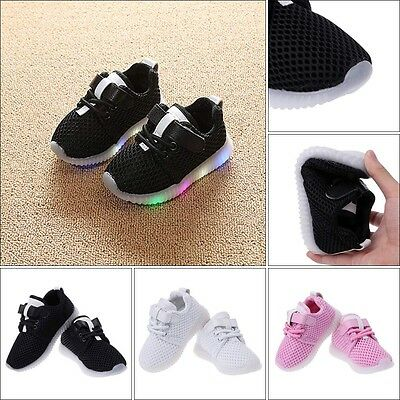 Children Mesh Sport Shoes With LED Light Toddler Baby Boy Girl Glowing Sneakers