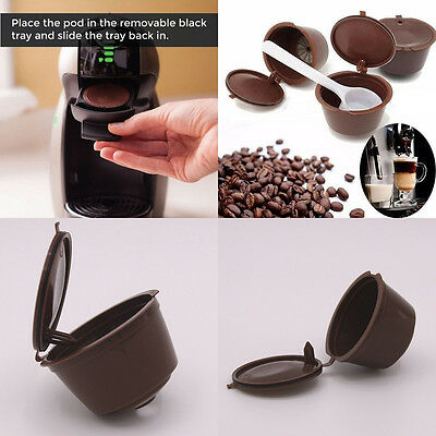 4pcs Refillable Reusable Coffee Capsules Pod Cup Filter  For Nescafe Dolce Gusto