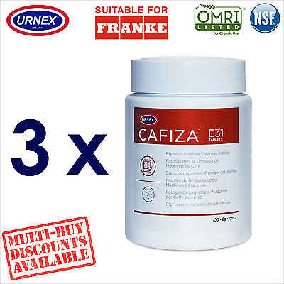 3 x Urnex 100 Cleaning Tablets Cleaner organic for Franke Coffee Machine