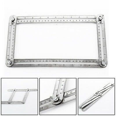 Stainless Steel Multi-angle Ruler Template Tool Four-sided Measuring Instrument