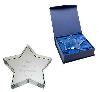 Personalised Crystal Glass Star Paperweight - Comes With Engraving