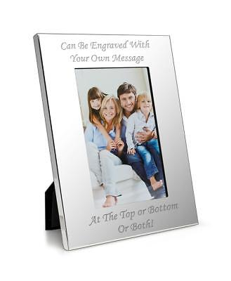 """Personalised Luxury 4"""" X 6"""" Silver Photo Frame - Engraved With Your Own Message"""