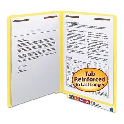 SMEAD 25950 File Folder End Tab, 2 Fastener, Yellow, PK50