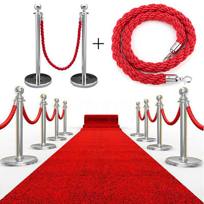 2x Polished Steel Queue Rope Barrier Posts Stanchion Stand Twisted Rope Belt Set