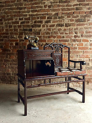 Stunning Chinese Telephone Seat Hall Bench Solid Teak Ming Style Silk Cushion