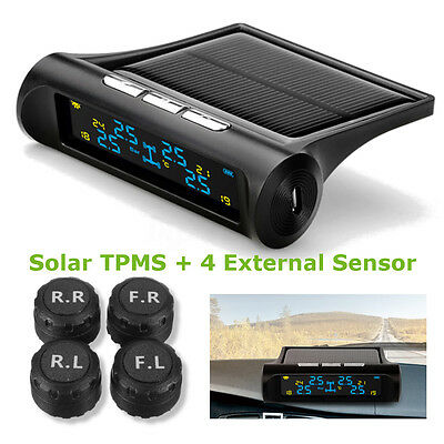 LCD Solar Wireless TPMS Car Tire Tyre Pressure Monitoring Wireless + 4 Sensors