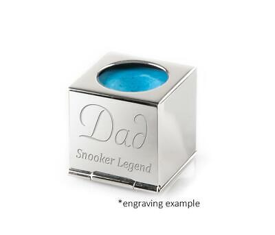Personalised Silver Snooker / Pool Chalk Holder Engraved -  Luxury Pouch and Box