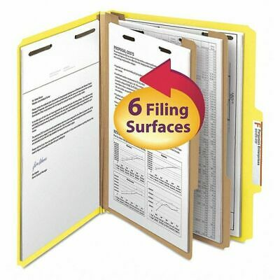 SMEAD 14004 Pressboard Folder, 6 Section, Yellow, PK10