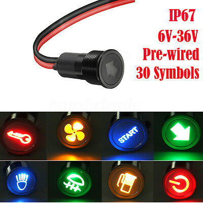 12V 24V 14mm Symbol LED Dash Panel Warning Pilot Light Indicator Lamp Car Boat
