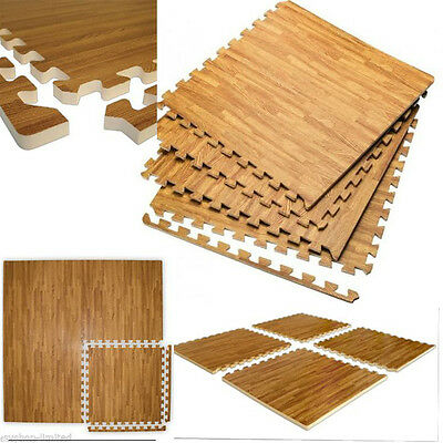 New Large Interlocking Wood Effect Eva Foam Mats Tiles Gym Play Garage Floor Mat