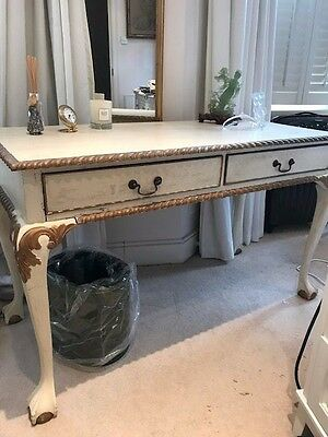 White and Gold Wooden Dressing Table