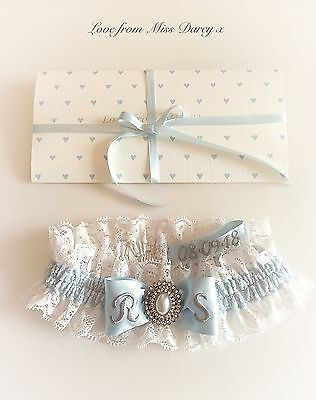 Bridal Garter Ivory Blue  Lace Pearl Personalised Brides Wedding Hen Miss Darcy