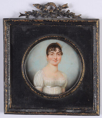 "Jean-Baptiste Soyer ""Lady in white Empire gown"", miniature, ca. 1805"