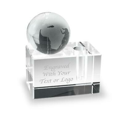 Personalised Glass Paperweight Globe / Pen Holder - Engraved - Office Desk