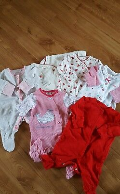 6 newborn girls sleepsuits