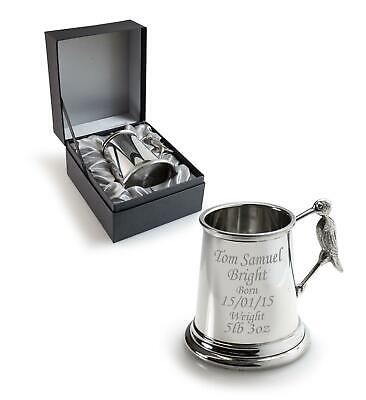 Personalised Tankard With Stork Handle & Gift Box -Engraved  Christening/Baptism