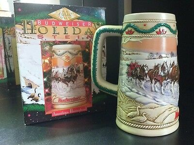 1996 Budweiser Holiday Beer Stein American Homestead Collectible In Original Box