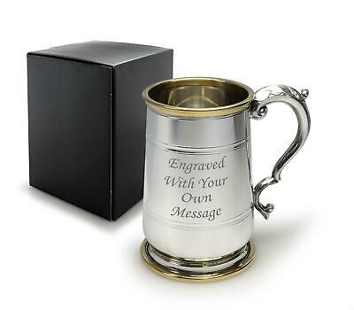 Personalised 1 Pint Pewter Hallam Tankard / Mug With Brass Trim -Can Be Engraved