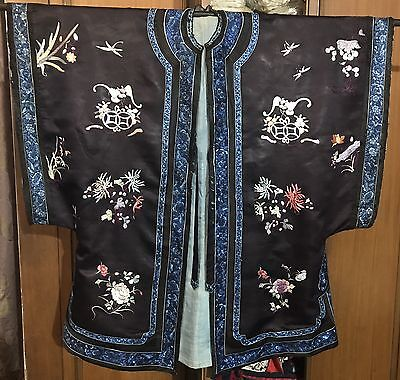 Antique Chinese Qing Dynasty Silk Robe Hand Embroidered