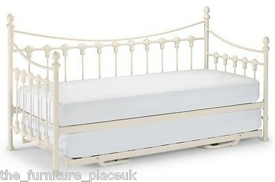 VERSAILLES GENUINE Guest Bed Single Metal Day Bed Option Of Trundle Stone White.
