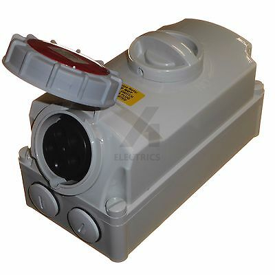 16 amp socket with interlock switch 5 pin IP67 380 - 415V industrial red 3P+N+E