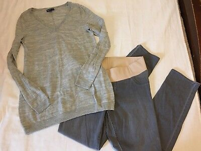 Maternity Outfit Gap Sweater Gray M Old Navy Gray  10 Skinny Jeans