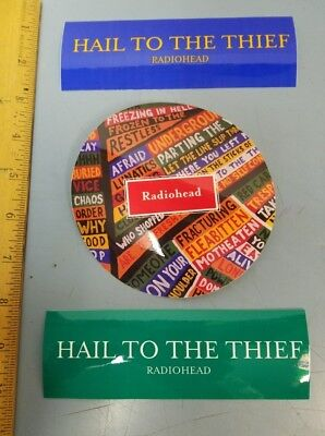RADIOHEAD 2003 hail to the thief 3 promotional sticker set New Old Stock