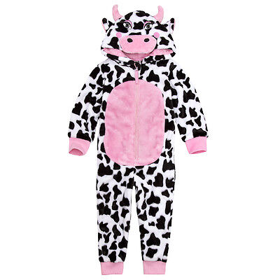Girls Soft Snuggle Fleece Novelty Cow Onezee / All in one / Pyjama ~ 2-13 Years