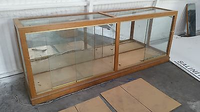 Shop Display Cabinet In Oak Glass Top And Doors