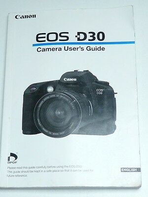 canon eos d30 150 page camera instructions user guide manual 9 95 rh picclick co uk Canon EOS D30 Manual canon eos 30d user manual