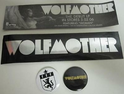 WOLFMOTHER 2006 promotional 2 pinback set & sticker NEW old stock & MINT cond