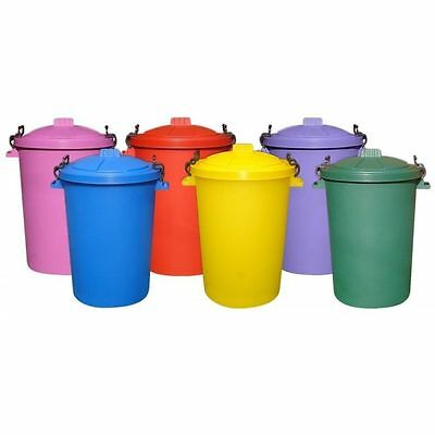 2 x 85 Litre 85L Large Colour Plastic Dustbin Garden Bin Locking Lid Heavy Duty