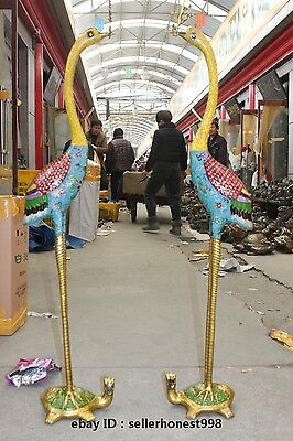 Chinese Bronze Cloisonne Cranes Dragon turtle Candle Holders statue Pair