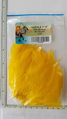 """Lot of (3 GR)   """" SADDLE HACKLE STRUNG """"  3"""" -5"""" long   YELLOW   Fly Tying"""