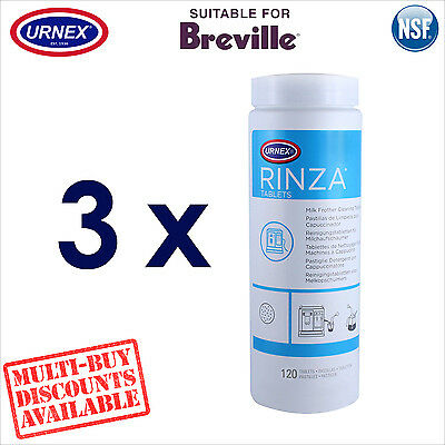 3 x Urnex Milk Spout Frother 120 Cleaning Tablets for Breville Coffee Machine