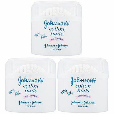 Johnson's Baby Cotton Buds 100% Pure  Quantity 200  per Pack --   3 or 6 Packs