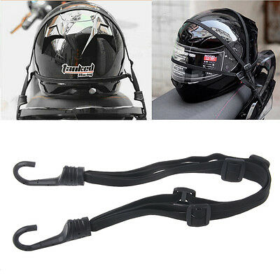 60cm Motorcycle Strength Retractable Helmet Luggage Elastic Rope Strap W/2 Hooks