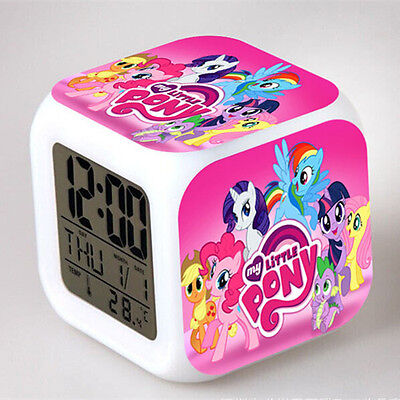 Cute My Little Pony 7 Color Changing Night Light Alarm Clock Kids Children Toy