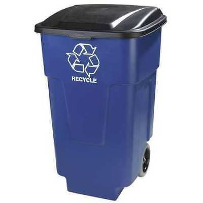 50 gal.  Rolling Rectangular Recycle Container, Blue, 2-Pack